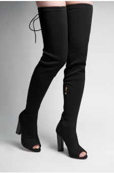 HerStyle Dainna peep toe, long sock boot with lace up back fastenind, thigh high, chunky heel (Black)