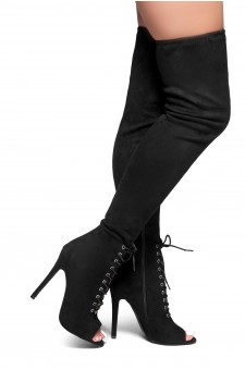 HerStyle DAYSIE-Suede Lace up Stiletto Over-The-Knee Boots (Black)
