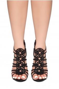 HerStyle Dazzled Night -Stiletto heel, jeweled embellishments Sandals(Black)