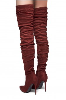 HerStyle-Deadly Lust-pointed toe, stiletto heel,slouchy Silhouette,thigh high construction (Burgundy)