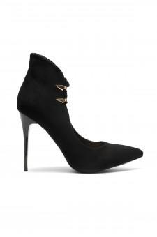 Women's Dennay Faux SuedeLace- Tie Pointy Toe Stiletto Pump - Black