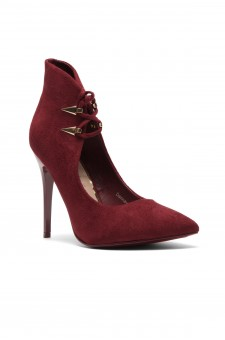 Women's Dennay Faux SuedeLace- Tie Pointy Toe Stiletto Pump - Burgundy
