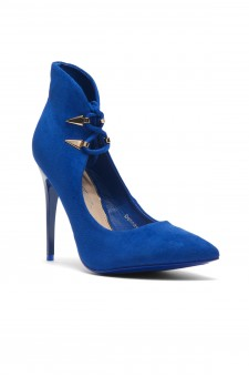 Women's Dennay Faux SuedeLace- Tie Pointy Toe Stiletto Pump - RoyalBlue