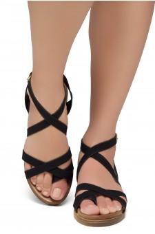 Shoe Land SL-Dessi-Women's Fashion Strap Sandals Toe Loop with Buckle Low Wedge Platform Heel Comfortable Shoes (Black)