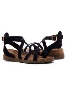 Shoe Land Dessi-Women's Fashion Strap Sandals Toe Loop with Buckle Low Wedge Platform Heel Comfortable Shoes (Black)