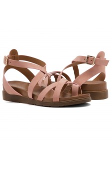Shoe Land Dessi-Women's Fashion Strap Sandals Toe Loop with Buckle Low Wedge Platform Heel Comfortable Shoes (Mauve)