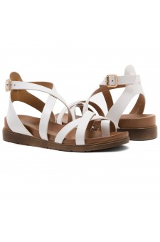 Shoe Land Dessi-Women's Fashion Strap Sandals Toe Loop with Buckle Low Wedge Platform Heel Comfortable Shoes (White)