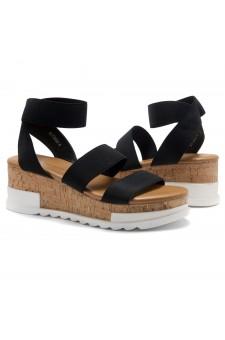 ShoeLand DIRASSA-Women's Open Toe Ankle Strap Platform Wedge Sandals(1896BlackELA)