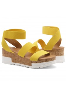 ShoeLand DIRASSA-Women's Open Toe Ankle Strap Platform Wedge Sandals(1896YellowELA)