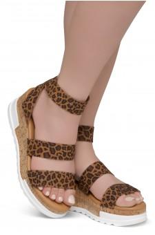ShoeLand DIRASSA-Women's Open Toe Ankle Strap Platform Wedge Sandals(1896LeopardELA)