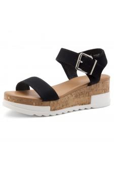 ShoeLand DIRASSA-Women's Open Toe Ankle Strap Platform Wedge Sandals(2010 Black)