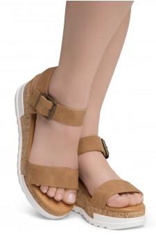 ShoeLand DIRASSA-Women's Open Toe Ankle Strap Platform Wedge Sandals(2010 Tan)