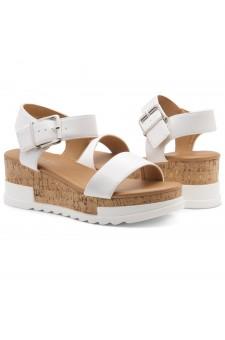 ShoeLand DIRASSA-Women's Open Toe Ankle Strap Platform Wedge Sandals(2010 White)