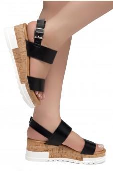 ShoeLand DIRASSA-Women's Open Toe Ankle Strap Platform Wedge Sandals(Black)