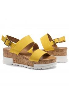 ShoeLand DIRASSA-Women's Open Toe Ankle Strap Platform Wedge Sandals(Yellow)