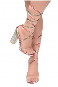 HerStyle Dominate-Square Chunky Blink Heel, Front Lace-up Sandals (Multi)