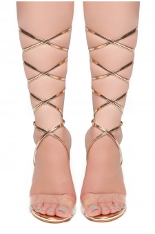 HerStyle Dominate-Square Chunky Blink Heel, Front Lace-up Sandals (RoseGold)