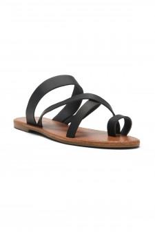 Women's Donnoddi Toe Ring Sandal with Unique Crisscross Straps (Black)