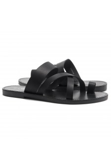 Women's Donnoddi Toe Ring Sandal with Unique Crisscross Straps (Black)
