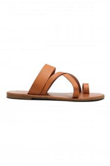 Women's Donnoddi Toe Ring Sandal with Unique Crisscross Straps (Cognac)