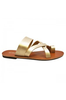 Women's Gold Donnoddi Toe Ring Sandal with Unique Crisscross Straps