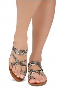 Shoe Land-Women's Donnoddi Toe Ring Sandal with Unique Crisscross Straps (Nat/Snk)