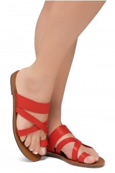 Shoe Land-Women's Donnoddi Toe Ring Sandal with Unique Crisscross Straps (Red)