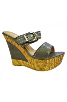 Women's Black Manmade Dovveerr 5-inch Wedge Sandal with Faux Snakescale Pattern