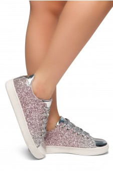 HerStyle DOWN FOR YOU- Flat Heel, Glitter sneaker with lace upper(Silver)