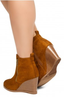 HerStyle Eaddy-2-Women's Fashion Casual Ankle Booties (Cognac)