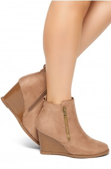 HerStyle Eaddy-2-Women's Fashion Casual Ankle Booties (Khaki)