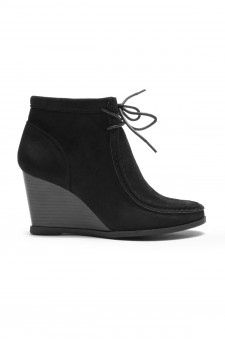 HerStyle Women's Eaddy Ysabel Lace-up Wedge Chukka Boot(Black)