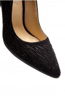 HerStyle Ecidia-Stiletto heel, jeweled embellishments (Black)
