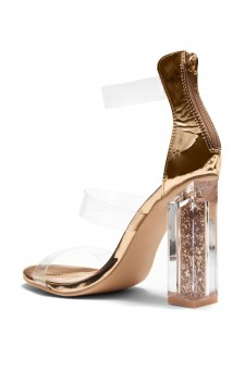 HerStyle Elaesse Metallic Open Toe Lucite Straps Glitter Perspex Heel (Clear Rose Gold)