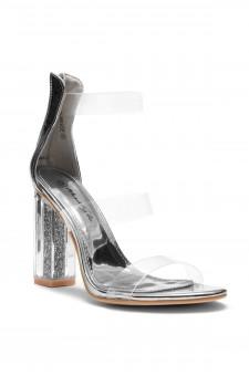 HerStyle Elaesse Metallic Open Toe Lucite Straps Glitter Perspex Heel (ClearSilver)