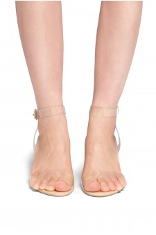 HerStyle Elinda Perspex heel ankle strap with an adjustable buckle (Clear Nude)