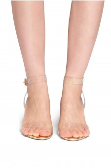HerStyle Elinda Perspex heel ankle strap with an adjustable buckle (Clear Rose Gold)
