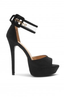HerStyle Elinnaa platform, stiletto heel, Perspex ankle strap (Black)