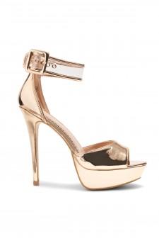 HerStyle Elinnaa platform, stiletto heel, Perspex ankle strap (Rose Gold)