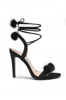 Herstyle Women's Elissee Faux Pom Pom accents, Ankle lace-up, Stiletto Heel - Black