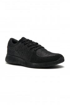 HerStyle Women's Manmade Elivia Spec Flyknit Contrast Sneakers -Black