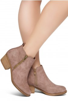 ShoeLand Ellaire Women's Western Ankle Bootie Closed Toe Casual Low Stacked Heel Boots (Taupe)