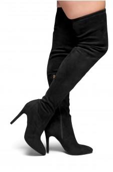 HerStyle Ellinnaa-Stiletto heel, Thigh high, Sock Boots(Black)