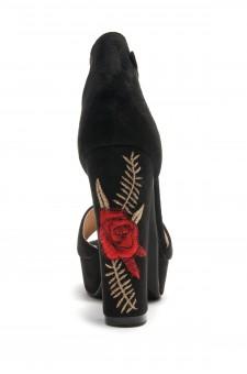 HerStyle Ellisse faux suede Floral Embroidered Platform Heel (Black)