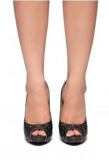 HerStyle Elvyne-Stiletto heel, jeweled embellishments (Black)