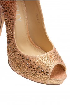 HerStyle Elvyne-Stiletto heel, jeweled embellishments (Rose Gold)