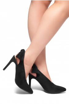 HerStyle ELYNI-Sling back, bow detail, stiletto heel (Black)