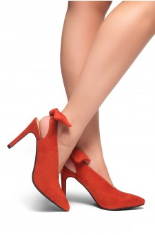 HerStyle ELYNI-Sling back, bow detail, stiletto heel (OrangeRed)