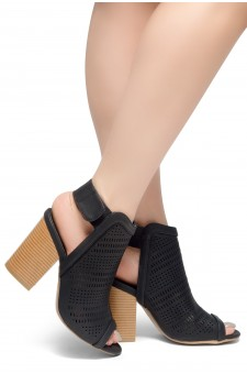 HerStyle Emilina-Block heel, Peep Toe Open Back Booties (Black)