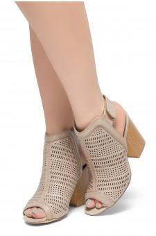 HerStyle Emilina-Block heel, Peep Toe Open Back Booties (Blush)